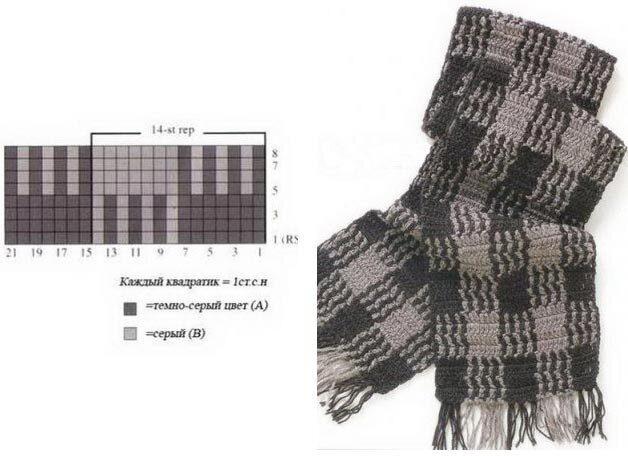 Шарф мужской крючком схемы и описание фото